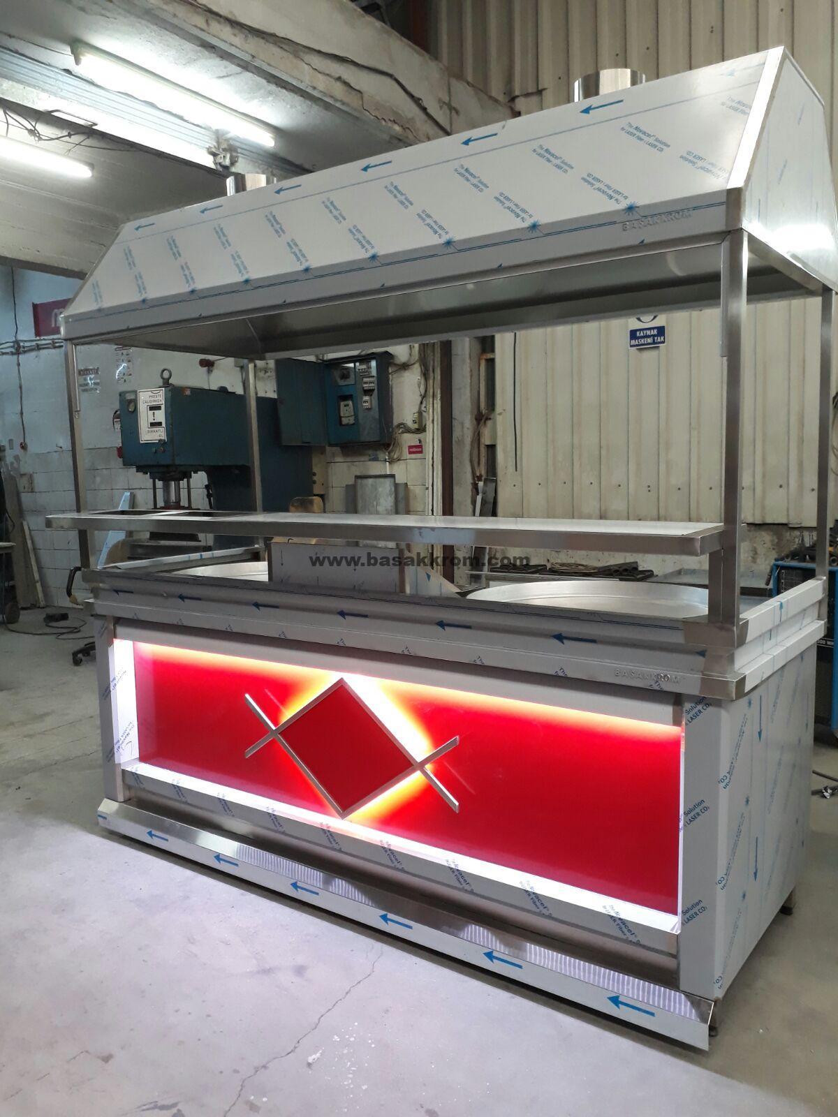 CE Belgeli dogalgazlı ankara tantuni tezgahı özel imalat  kırmızı renkli lede aydınlatmalı dekorlu